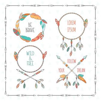 Quadros de estilo boho tribal de vetor com citações inspiradoras