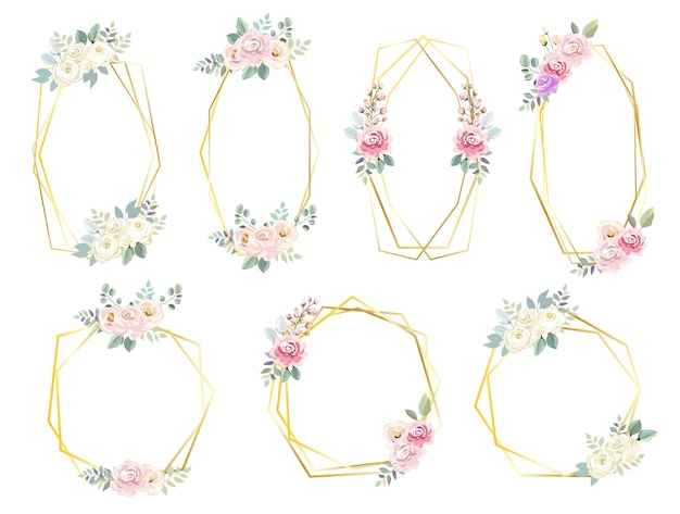 Quadros de flor hexagonal para convite de casamento