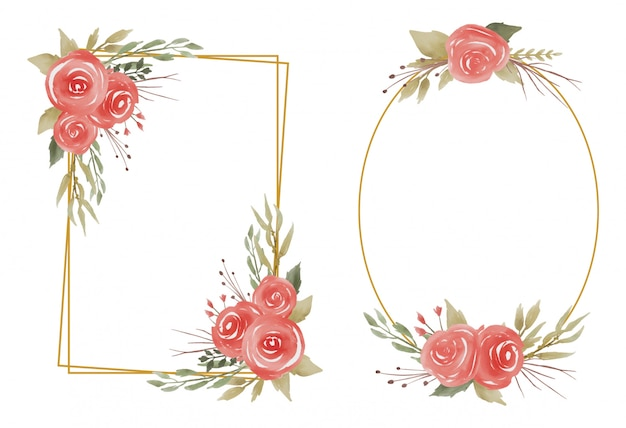 Quadros de flores em aquarela de casamento e bordas de ouro