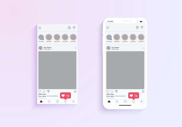Quadros de fotos do instagram exibem aplicativos móveis. ilustração da aplicação do telefone móvel com moldura e comentários ilustração