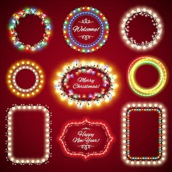 Quadros de luzes de natal com um conjunto de espaço de cópia