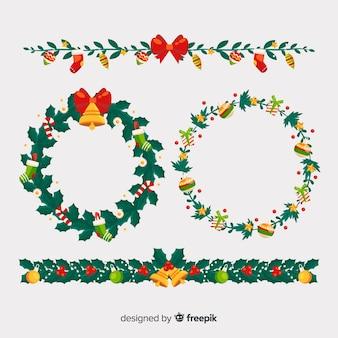 Quadros de natal floral e coleção de fronteiras