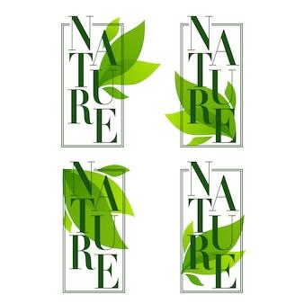 Quadros de natureza, emblemas de folhas orgânicas, adesivos e logotipo em elegante estilo simples