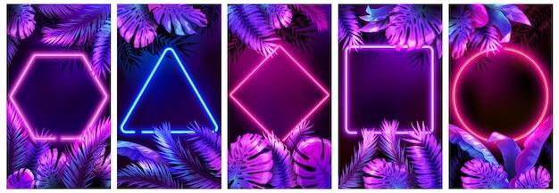 Quadros de néon tropical. folhas brilhantes brilhantes, quadro floral cibernético e folhas em conjunto de fundo de luzes de néon.