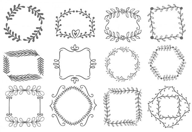 Quadros de ornamento floral. quadro de folhas decorativas, conjunto de fronteiras ornamentais mão desenhada