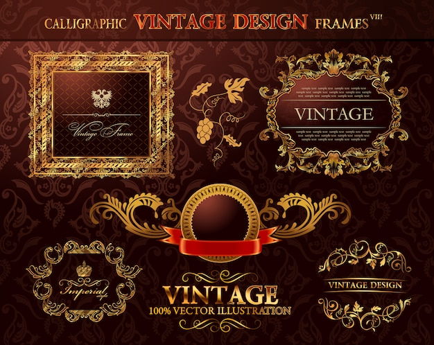 Quadros de ouro vintage