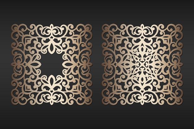 Quadros de papel cortado a laser, ilustração. molduras para fotos recorte decorativo, modelo para o corte. elemento para convite de casamento e cartão de felicitações.