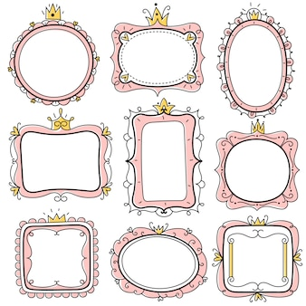 Quadros de princesa. molduras de espelho floral fofo rosa com coroa, bordas de certificado de crianças. conjunto de cartão de convite de aniversário de menina