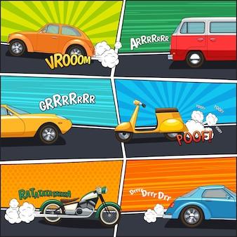 Quadros de quadrinhos de transporte com carros em movimento van motocicleta e scooter