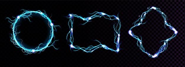 Quadros de raios, bordas de raio azul elétrico, portais mágicos, ataque de energia.