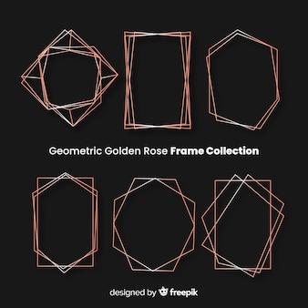 Quadros de rosas dourados geométricos