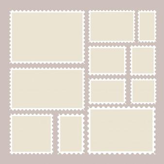 Quadros de selos postais em fundo. borda dentada enviando adesivos postais em tamanhos diferentes.
