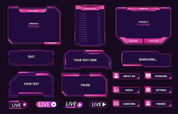 Quadros de sobreposição de interface de transmissão ao vivo para transmissão do jogador. design de tela, painéis, botões e ícones de cyber hud para conjunto de vetores de streaming de jogo