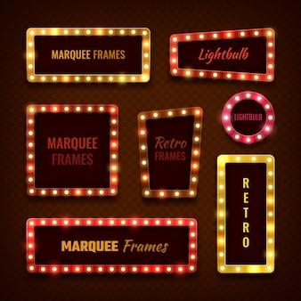 Quadros de vegas vintage luz 3d marquise com conjunto de lâmpadas