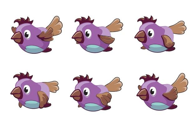 Quadros de vetor de animação de pássaro