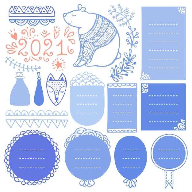 Quadros desenhados à mão de natal e elementos para diário de bala, caderno, diário ou planejador.