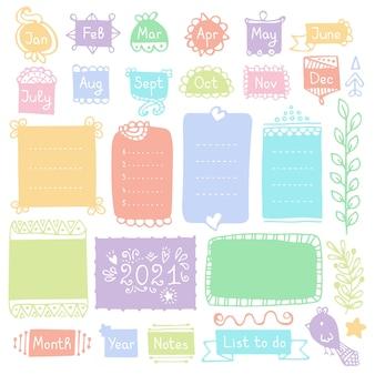 Quadros e elementos de doodle para diário, caderno, diário ou planejador
