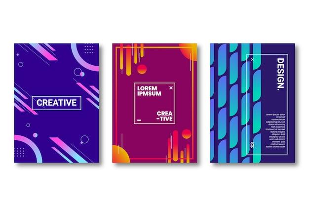 Quadros e linhas abstraem coleção de capa de gradiente