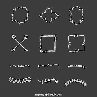 Quadros e ornamentos desenhados a mão