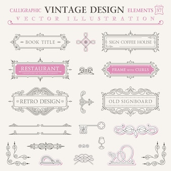 Quadros e símbolos de elementos caligráficos de design vintage