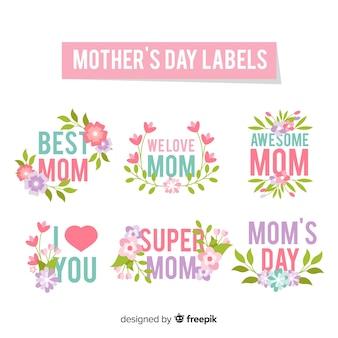 Quadros florais coleção de crachá de dia das mães