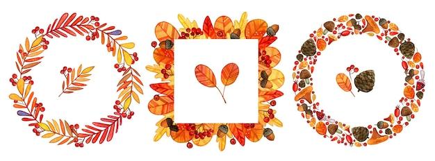 Quadros florais com folhas de carvalho em aquarela de outono, bolotas, frutos silvestres e elementos florais em cores de outono