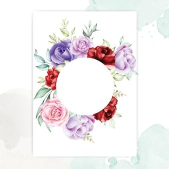 Quadros florais com lindas folhas de aquarela