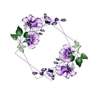 Quadros florais da aguarela do fio
