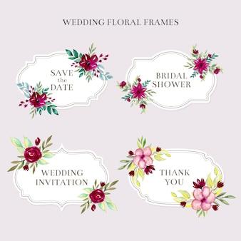 Quadros florais de casamento em aquarela
