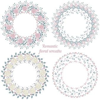 Quadros florais desenhados à mão. grinaldas naturais de círculo