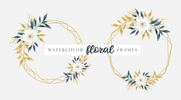 Quadros florais dourados em aquarela
