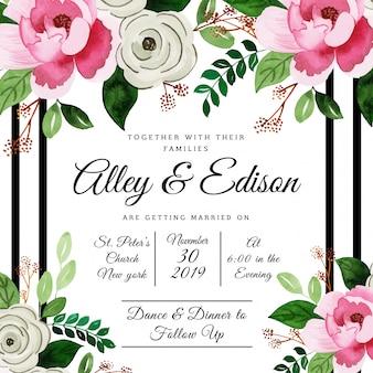 Quadros florais em aquarela bonita, cartões de convite de casamento