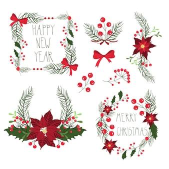 Quadros florais para cartões de férias de natal com flores e frutos. ilustração, isolada no fundo branco.