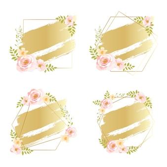 Quadros florais rosa com efeito aquarela de gradiente de ouro
