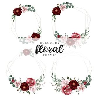 Quadros geométricos botânicos florais de borgonha