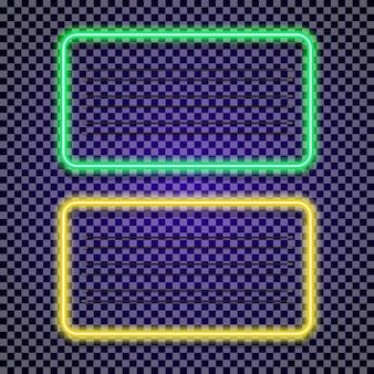 Quadros horizontais de néon com cor verde e amarela em fundo transparente para tatuagem