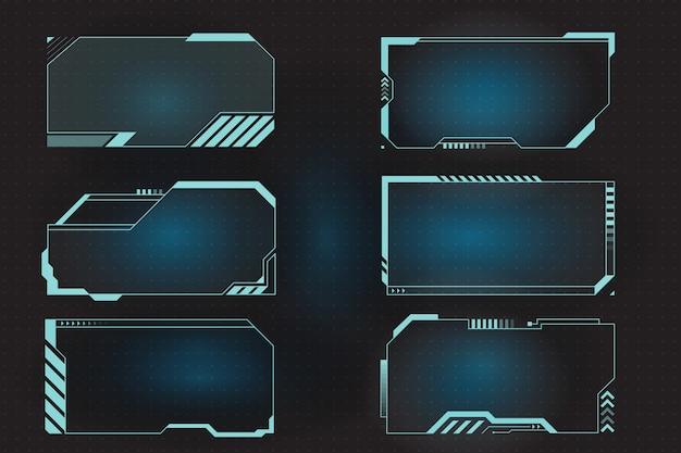 Quadros hud futuristas para chamada e painel de controle.
