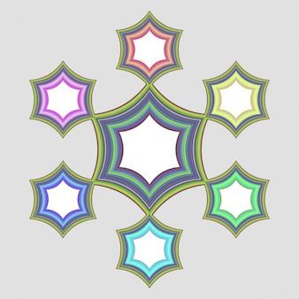 Quadros luminosos com estrelas coloridas