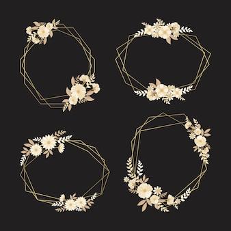 Quadros poligonais florais em tons dourados