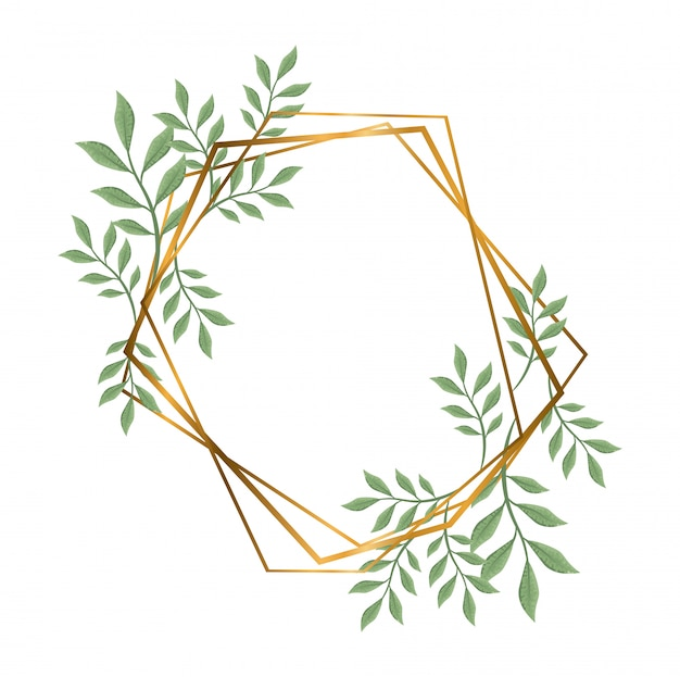 Quadros poligonais geométricos com linhas e folhas douradas