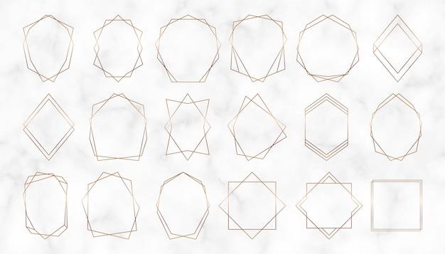 Quadros poligonais geométricos dourados. bordas de linhas decorativas. design de luxo