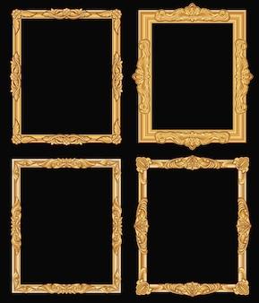 Quadros quadrados ornamentado do ouro do vintage isolados. beiras douradas de luxo brilhante retrô.