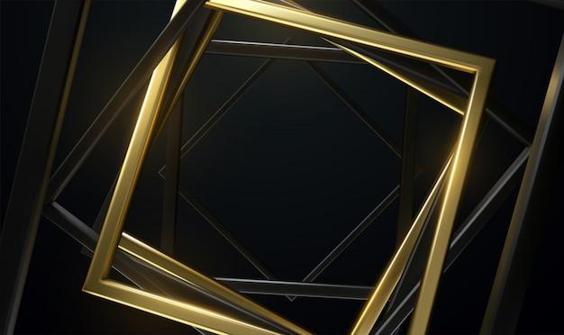 Quadros quadrados pretos e dourados. abstrato. retângulos girados aleatoriamente. banner geométrico