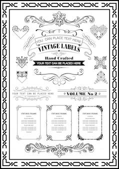 Quadros vintage bordas coleção cor preta