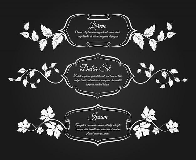 Quadros vintage com elementos decorativos florais