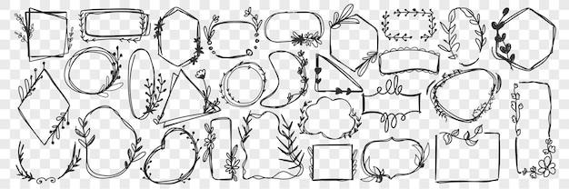 Quadros vintage doodle conjunto.