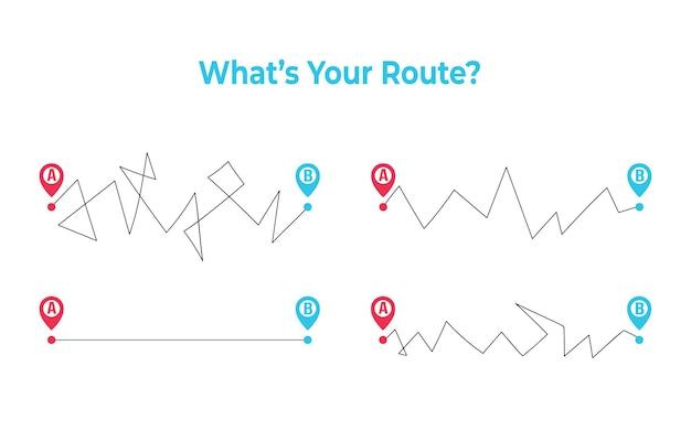 Qual é a sua rota diferentes caminhos e formas de planejar uma estrada reta e difícil, uma vida real bagunçada