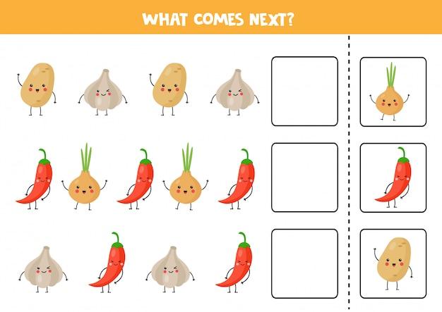 Qual vegetal kawaii vem a seguir. jogo lógico educacional.