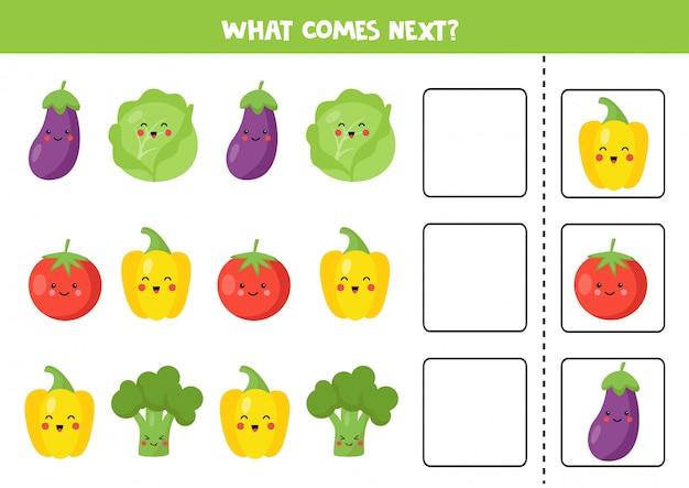 Qual vegetal vem a seguir. jogo lógico educacional.