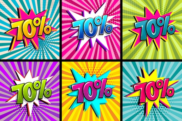 Qualidade de 70 por cento do texto em quadrinhos definida balão colorido no fundo radial